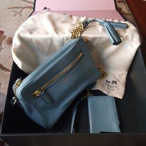 Coach Legacy Flught Bag Teal Blue w/ mini wallet